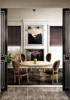 Home decor ideas for dining room - The elegant silhouette of this chandelier takes its brilliance from the skillful application of the crystal. A luxury decoration piece for contemporary home décor.