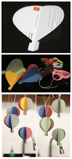 How to make Paper Hot Air Balloon Garland step by step tutorial instruction - Balloon Decorations 🎈 Paper Balloon, Balloon Garland, Balloon Decorations, Balloon Ideas, Birthday Decorations, Diy And Crafts, Crafts For Kids, Paper Crafts, Diy Hot Air Balloons