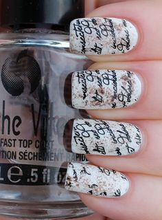 Nail Art - Stamp Romantic Old Book Page, White, Sponge on Brown polish and Vivid Lacquer plate VL005