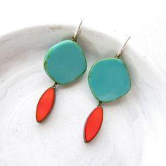 Our bestselling Turquoise Hue Earrings.  https://www.etsy.com/listing/285348367/turquoise-earrings-statement-earrings