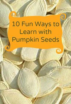 10 fun ways to learn with pumpkin seeds. Great ideas for a fall busy bag or easy on the go learning and play.