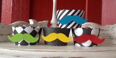 Mustache Cupcake Wrappers- Black and White with Colorful Staches