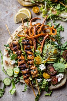 Chicken Shawarma Naan Salad with Sweet Potato Fries | halfbakedharvest.com @hbharvest