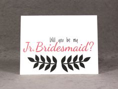 Will You Be My Junior Bridesmaid Card by #patternedpomegranate Coupon Code PINLOVE for 10% off!