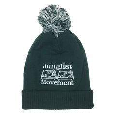A.S. Embriodered Junglist Movement Snowstar Beanie Hat (Bottle Green)