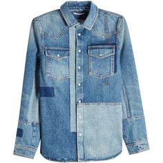 Valentino Denim Jacket (6 660 PLN) ❤ liked on Polyvore featuring outerwear, jackets, blue, mens blue jacket and mens blue jean jackets
