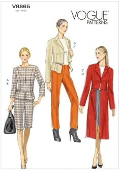 Amazon.com: VOGUE PATTERNS V8865 Misses' Jacket Sewing Template, Skirt/Shorts and Pants, Size A5 (6-8-10-12-14) : Arts, Crafts & Sewing
