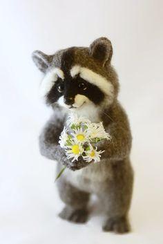 Needle felted raccoon MADE TO ORDER Needle felted от SvetlanaToys