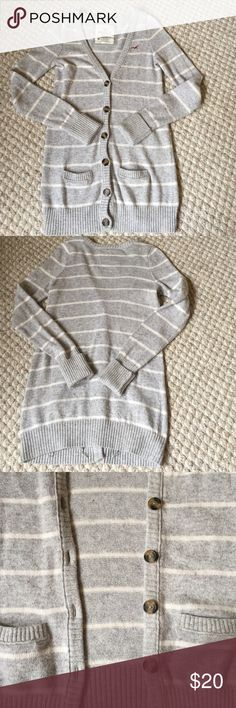 Hollister striped cardigan Long cardigan with real buttons from Hollister. Grey & white stripes. In great condition, very comfortable! Open to offers through the offer button! Hollister Sweaters Cardigans