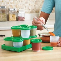 Reusable Baby Food Containers -freezable, stackable, microwavable, and portable.