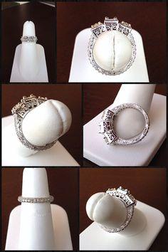 Vintage Style a Three Stones Wedding Ring #JewelerByDesign