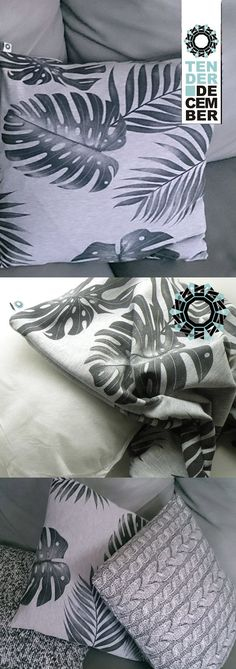 Gray cushion printed with a monstera leaves pattern, living room pillow home decorations, ooak pillow, unique artwork, ooak original cushion Grey Cushions, Printed Cushions, Living Room Pillows, Sofa Pillows, Monstera Leaves, Handmade Items, Handmade Gifts, Bead Sewing, Future Trends