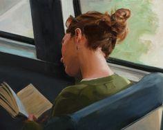 Reading whilst traveling / Leyendo mientras viaja (ilustración de Ned Axthelm)
