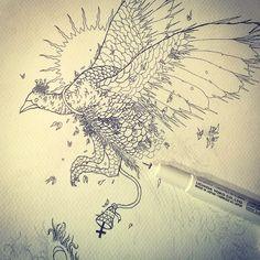 #peacock #drawing #penandink #blackink #darkart #illustration #shapefromhell #sketch