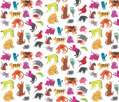 Strange Beasts Multi-colour fabric by Benconservato on Spoonflower