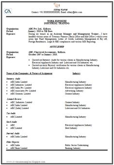 Example Template of an Experienced Chartered Accountant Resume with