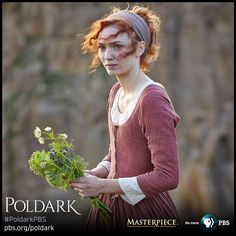 Close-up of Eleanor Tomlinson as Demelza in wedding dress, made from silk dyed multiple times to get the right color and depth. | Poldark, as seen on Masterpiece PBS