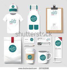 Vector restaurant cafe set flyer, menu, package, t-shirt, cap, uniform design/ layout set of corporate identity mock up template.
