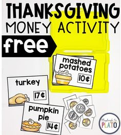 Thanksgiving Money Activity - Playdough To Plato Thanksgiving Activities For Kids, Thanksgiving Math, Math For Kids, Fun Math, Holiday Activities, Teaching Money, Teaching Math, Preschool Kindergarten, Money Activities