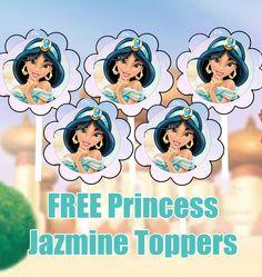 FREE Princess Jasmine Birthday Party Cupcake Topper Printable Files