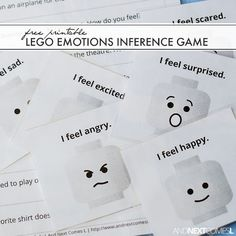 Free printable LEGO emotions inference game.  This would be perfect for a social skills group.  Download this and find some other great FREE autism resources at:  http://www.andnextcomesl.com/2016/04/free-printable-lego-emotions-game-for-kids.html