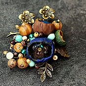 Handmade Jewelry.  Fair Masters - handmade brooch made of polymer clay tree buds.  Handmade.