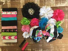 City girl headband kit - diy headband kit - diy headband - baby shower headband - headband station - baby headband - headband supplies by CuteAsaBowSupplyCo on Etsy