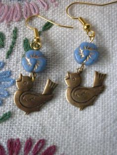 Song Bird in The Blue Pansies Dangle Earrings by TheQuietbee, $12.00