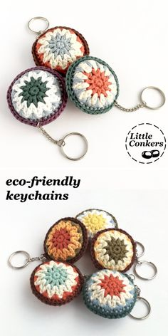 Eco-friendly handmade keychains Eco-friendly keychains in a range of muted and natural colours. Hand-crocheted in the UK by they make a perfect little gift for any occasion or none. Crochet Eyes, Crochet Home, Crochet Gifts, Crochet Motif, Hand Crochet, Crochet Key Chain, Crochet Granny, Knitting Projects, Crochet Projects