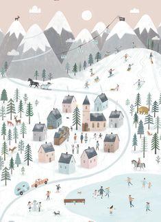 illustration design simple snow village festive christmas ski pink and blue - Art & Illustrations -