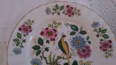 Pair of Bird of Paradise pattern china bread/ by GiftaMayVintage