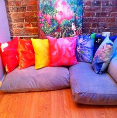 Chakra Flower Throw Pillow Set by SarahTaylorMoore on Etsy, $315.00 - Apothecary Tea and Gallery - feng shui - Denver - photography - flower power - floral - pretty - art - gift - set - housewarming - home decor - colorful - healing - bright - interior design - studio - yoga - meditation - botanical - graphic - bohemian- purple- lavender- white - indigo- violet- sky blue- spring green- baby blue- rose- pink- magenta- fuschia- yellow- gold- peach- orange -red- inspiration- boho- zen- peace…