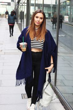 striped crop top, highwaisted black jeans and big snuggly blue cape - Suzie from HelloOctober