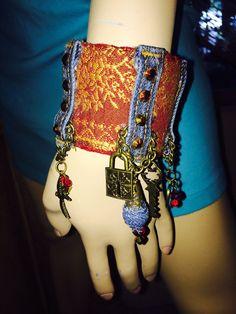 Boho Denim Charm Cuff Bracelet. by PiidaDiida on Etsy