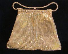 1940s Whiting and Davis Gold Mesh Purse w/ Rhinestones and Separate Change Purse Formal Purse Wedding Purse Very Good to Excellent Condition
