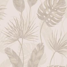 Shop Walls Republic Taupe & Grey Jungle Leaf Floral Wallpaper at Lowe's Canada. Find our selection of wallpaper at the lowest price guaranteed with price match. Brick Wallpaper, Home Wallpaper, Textured Wallpaper, Wallpaper Roll, Pattern Wallpaper, Leaf Outline, Watercolor Effects, Watercolour, Vertical