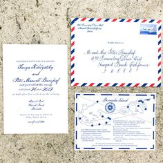 Romantic Hemingway Invitation Suite. A great fit for a destination wedding! Have a map included just incase an include little fun facts or tourist attractions, that way your invite will totally be a keeper.   Invitations: Lucky-Luxe Couture Correspondence Photo: Heather Waraksa Photography