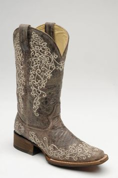 Corral Boots Womens Brown Crater Embroidered Square Toe Cowgirl Boots--Next investment is a new pair of square toes Corral Boots Womens, Cowboy Boots Women, Cowgirl Boots, Western Boots, Cowboy Hats, Ladies Boots, Cowgirl Style, Ugg Boots, Shoe Boots