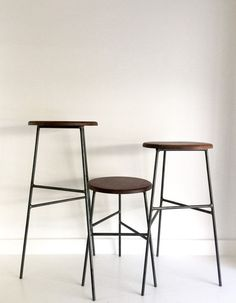 cool Black Walnut Wood and Raw Steel - dining, counter, and bar wood stools. by http://www.tophome-decorations.xyz/stools/black-walnut-wood-and-raw-steel-dining-counter-and-bar-wood-stools/