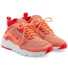 Nike Huarache Ultra Sneakers (€68) ❤ liked on Polyvore featuring shoes, sneakers, orange, slip on trainers, lacing sneakers, nike, nike shoes and pull on shoes