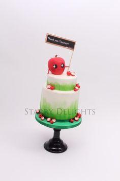 Thank you Teacher apple cake tutorial Fondant Icing, Fondant Cakes, Cupcake Cakes, Cupcakes, Teacher Cakes, School Cake, Funny Cake, Gift Cake, Apple Cake