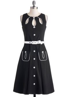 Swell-Heeled Dress in A-line - Black, White, Buttons, Cutout, Pockets, Belted, Casual, A-line, Sleeveless, Crew, Rockabilly, Vintage Inspired
