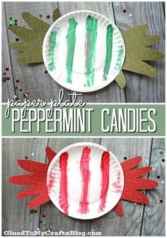Paper Plate Peppermint Candies - Christmas Kid Craft Idea