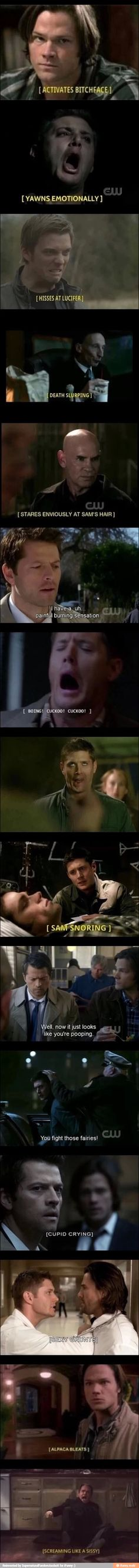 They forgot *Dean randomly dies in shower*<<<<Also my personal favorite *Whoosh*