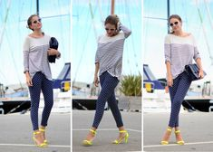 Rayas, topos y sandalias flúor, me encanta!!    My Daily Style | stylelovely.com