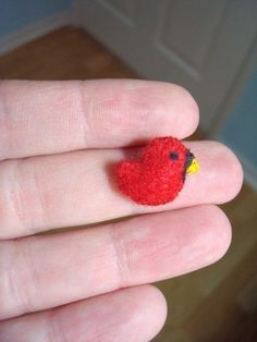 Micro Mini Tiny Birdie  Miniature Bird Plush Toy Teeny Tiny Super Cute Fun Cardinal.