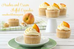 Peaches and Cream Stuffed Cupcakes