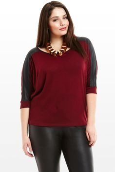 0315f3180c8cd Plus Size City Girl Faux Leather Blouse