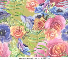 Beautiful Floral seamless pattern. Summer flowers.  - stock photo