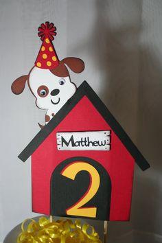 Birthday Cake Topper - Dog, Puppy Theme Personalized. $12.00, via Etsy.